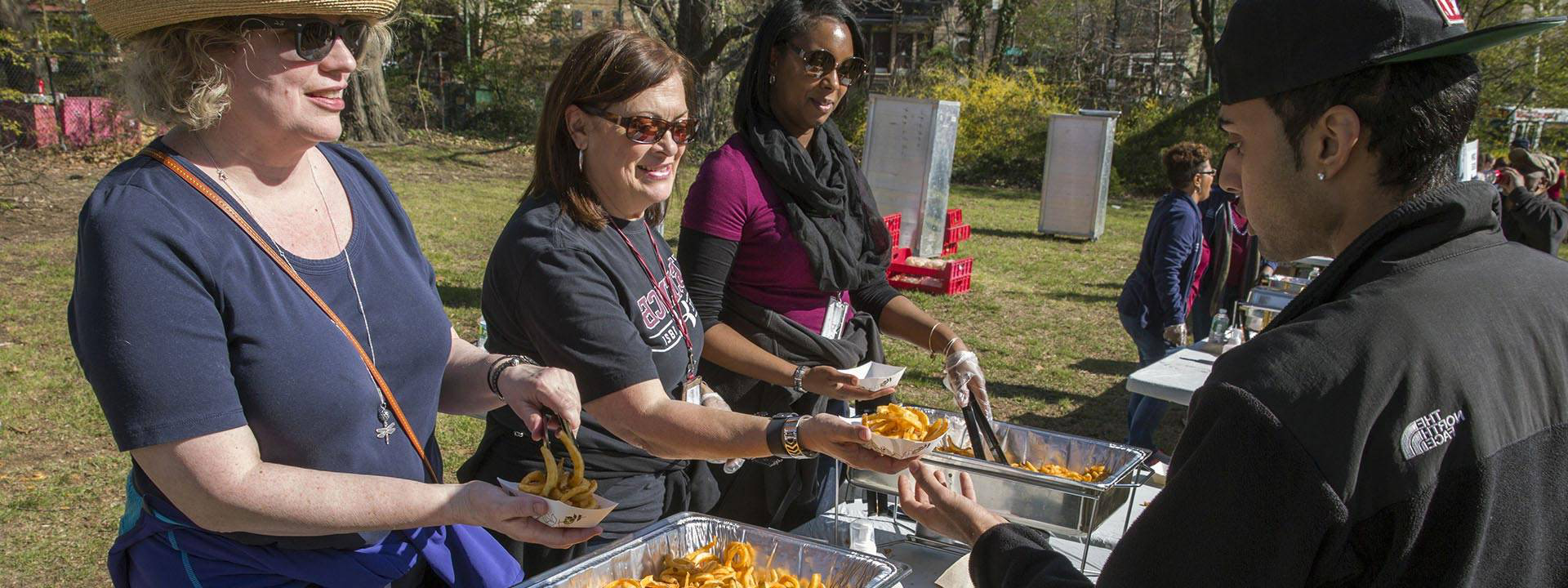 Food being served at an outdoor event